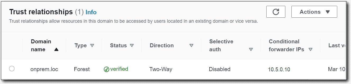 Creating an AWS Managed AD forest trust