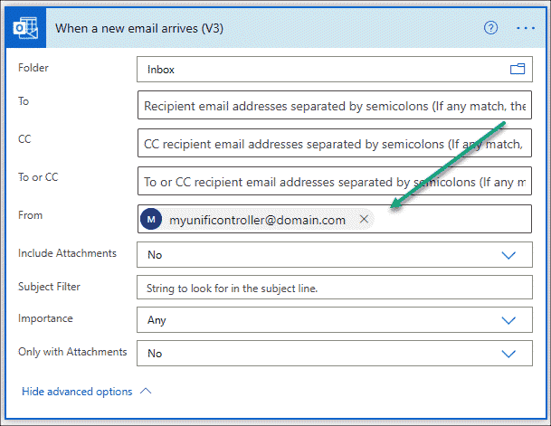 Email flow advanced options