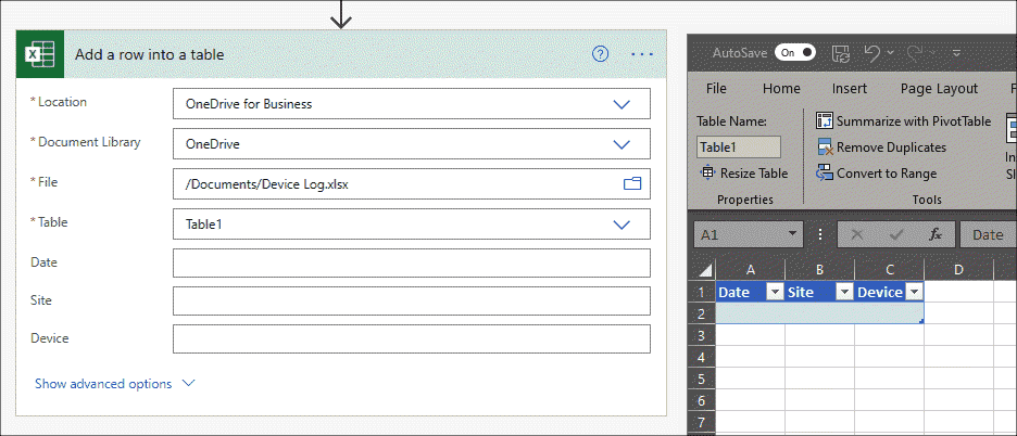 Excel add row to table
