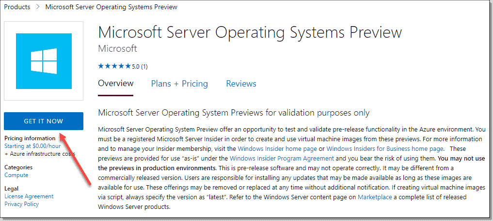 Getting the new Microsoft Server operating systems Preview for Azure