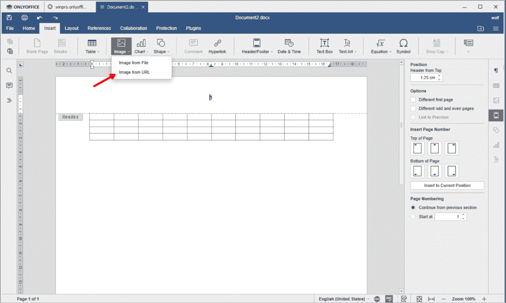 Inserting images from the web tables or headers are self evident functions in ONLYOFFICE