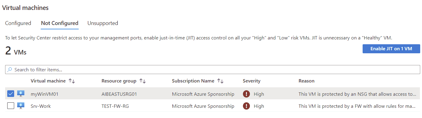 Just in time VM access