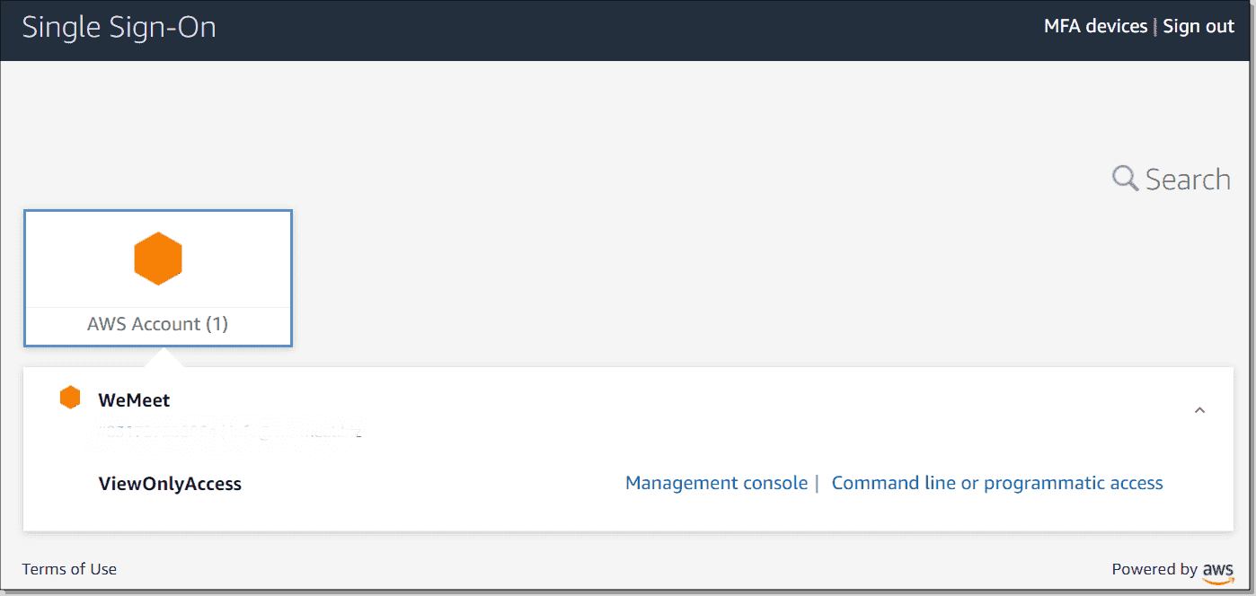Logging in to the AWS account from the AWS SSO portal
