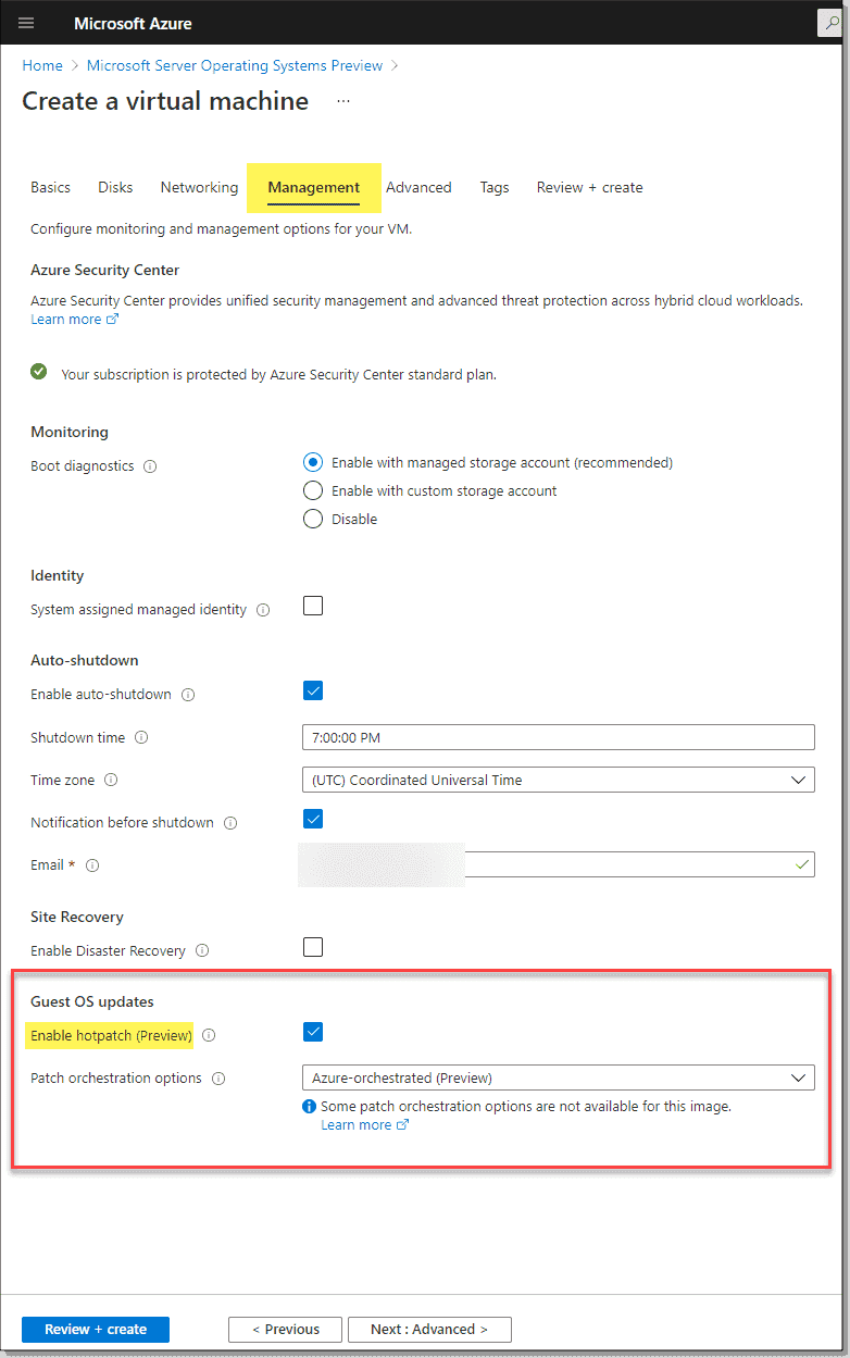 Making sure hotpatching is selected under management options