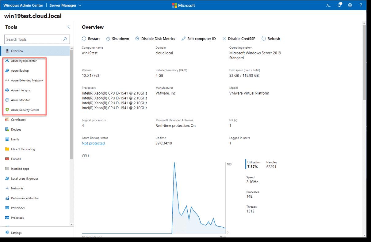 Modern Azure features built into Windows Admin Center