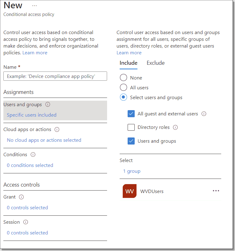 New Conditional Access policy