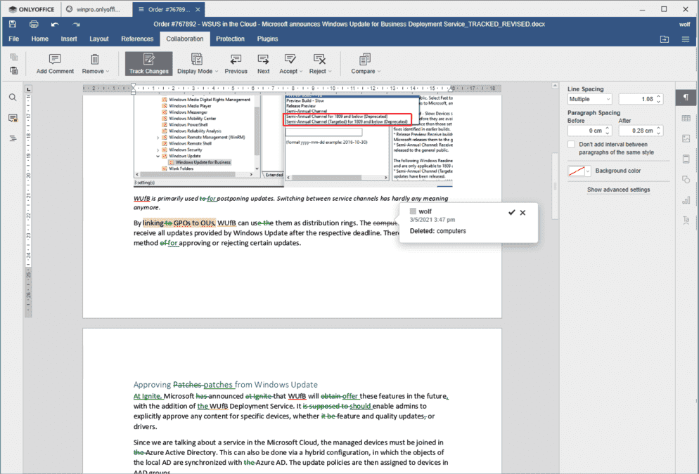 ONLYOFFICE masters the revision mode familiar from MS Word