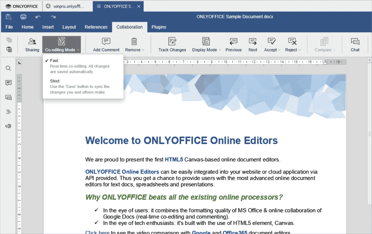 ONLYOFFICE supports two variants for the joint real time editing of its documents