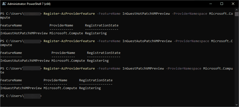 Running the Azure PowerShell cmdlets to register for the new hotpatch rebootless Preview