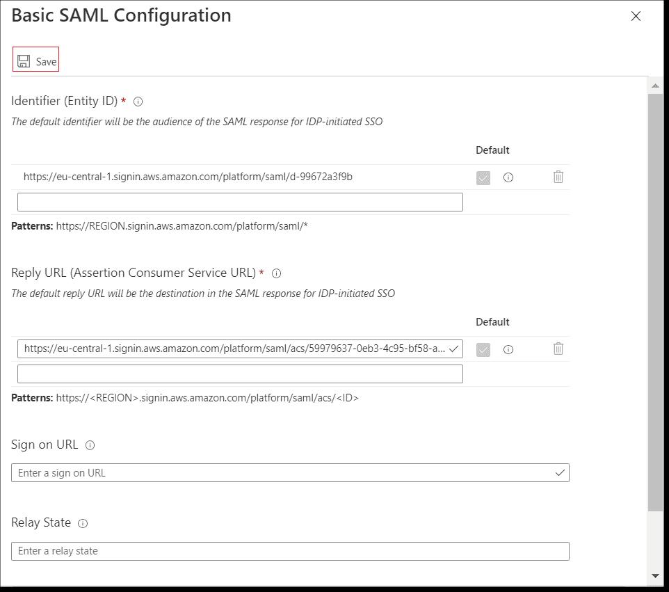 Saving the SAML configuration imported from the AWS SSO SAML metadata file