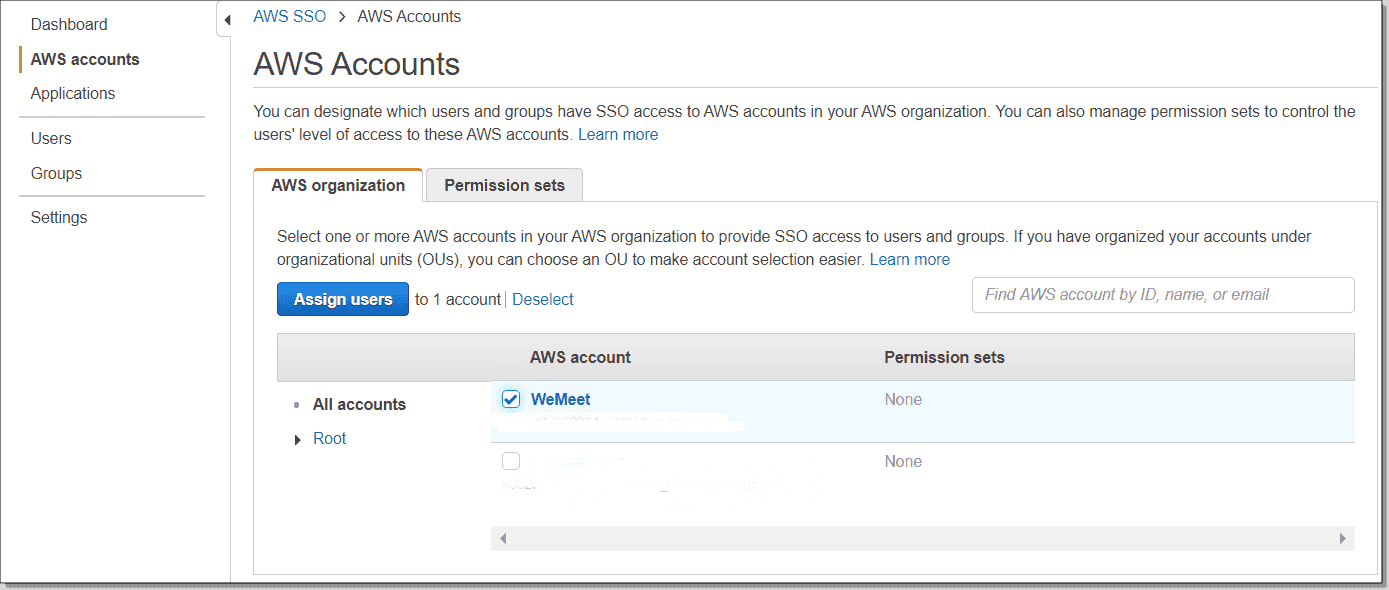 Selecting an AWS account to assign users to