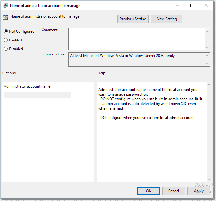 Selecting the admin account