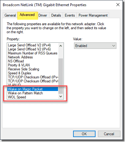 Setting the network adapter advanced configuration to support WAKE ON LAN