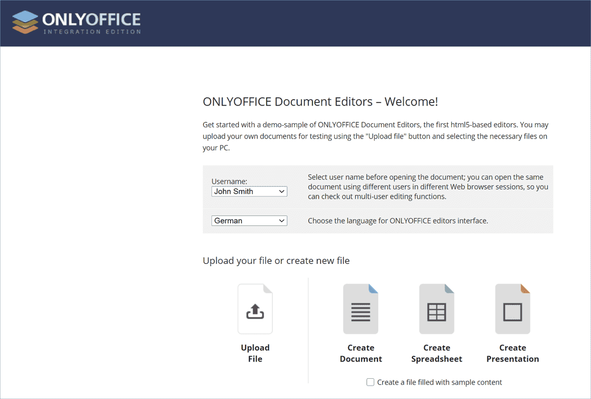 The demo service included in the web version allows limited use of the apps