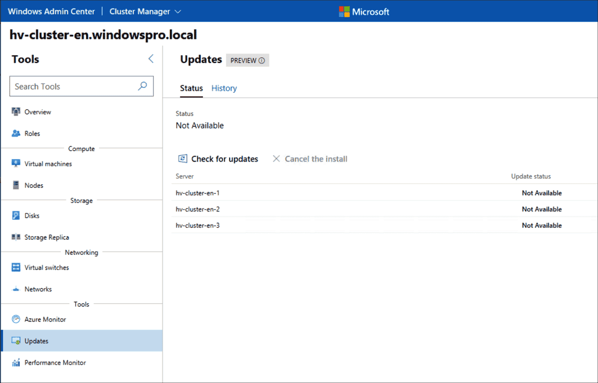 There is no defined status before the first cluster update from this page you can start searching for update