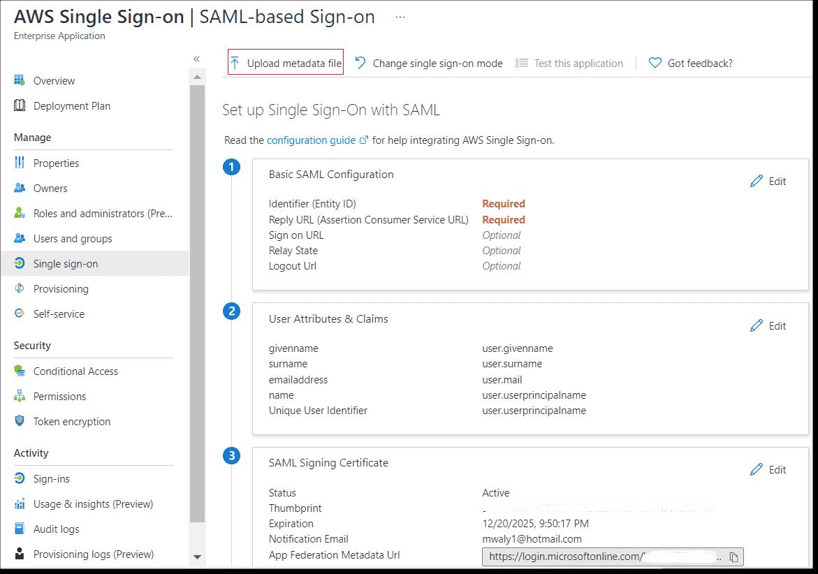 Uploading the AWS SSO SAML metadata file