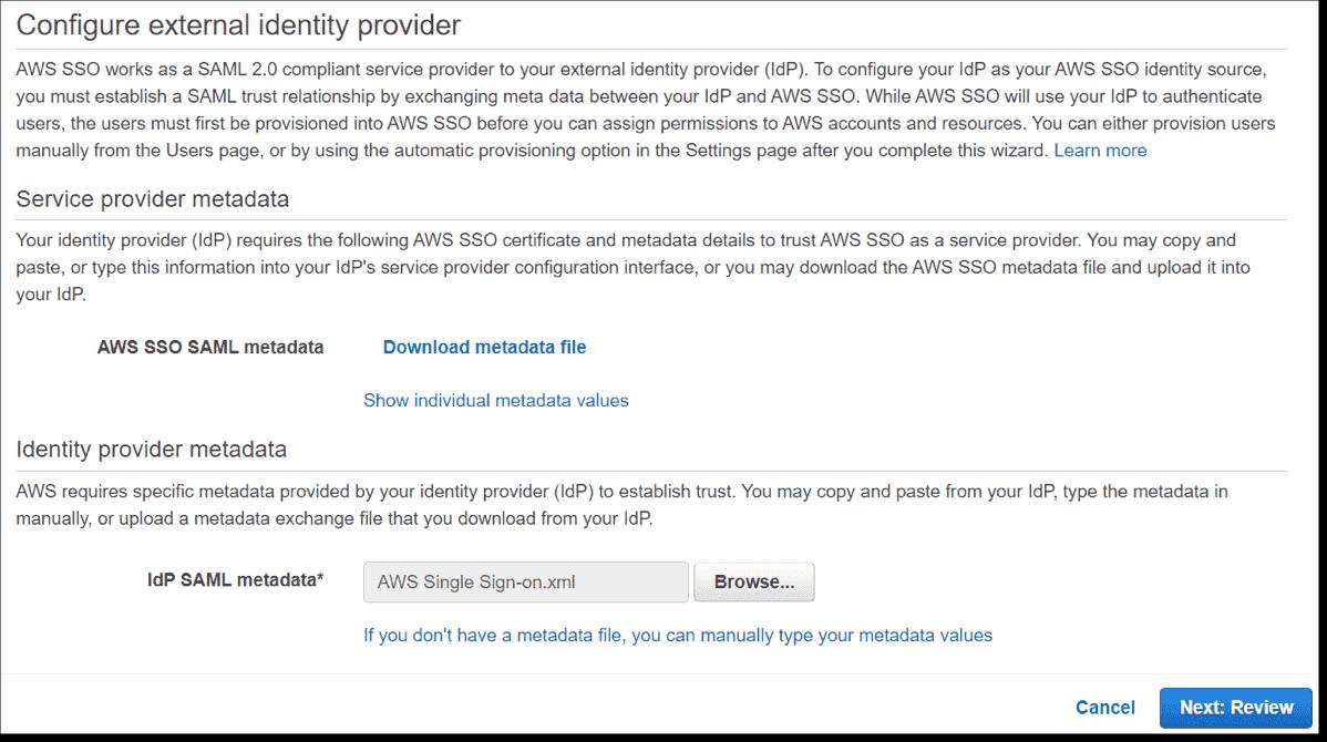 Uploading the Enterprise Application Federation Metadata XML file