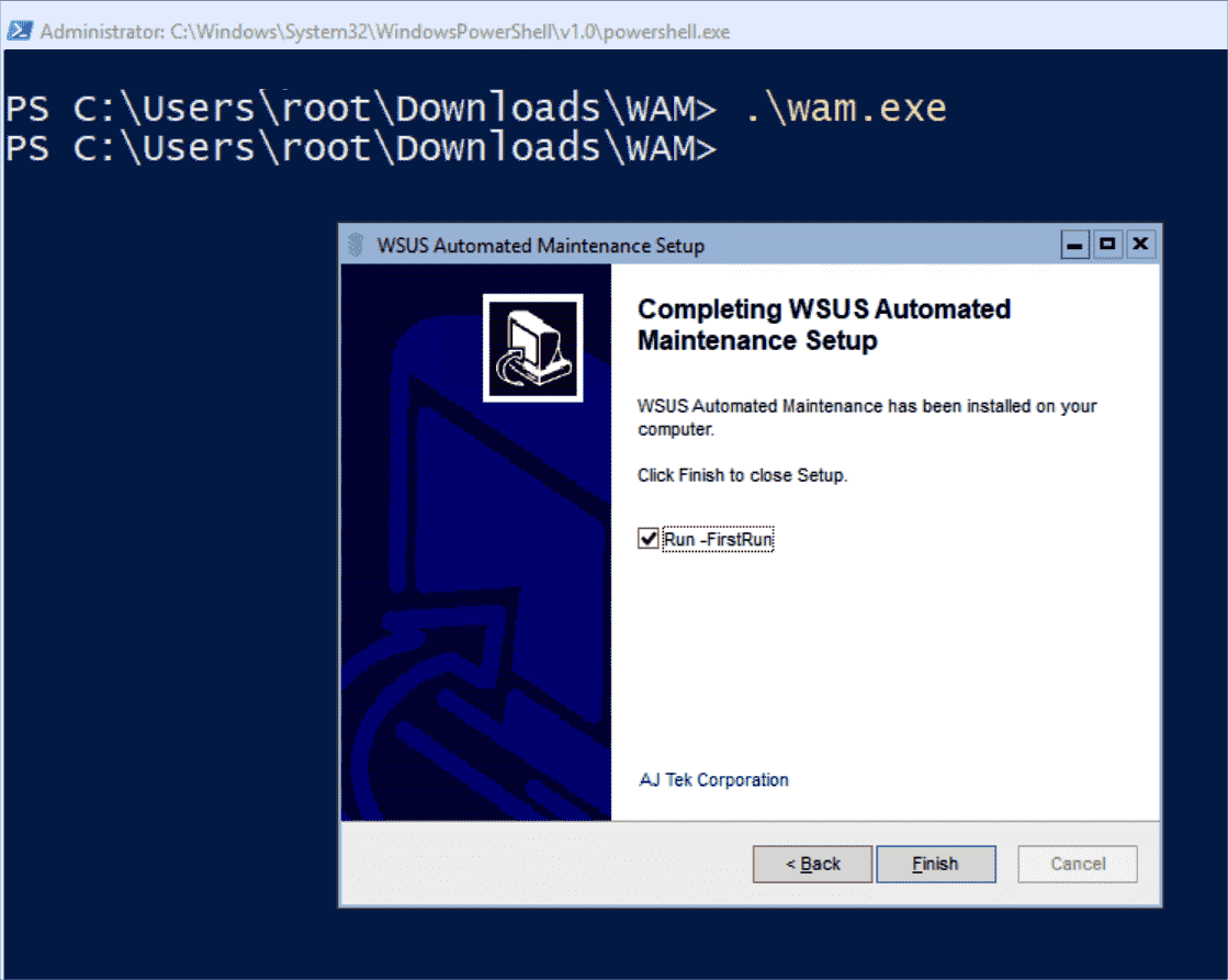 Using FirstRun WAM optimizes WSUS and carries out some of the regular maintenance tasks