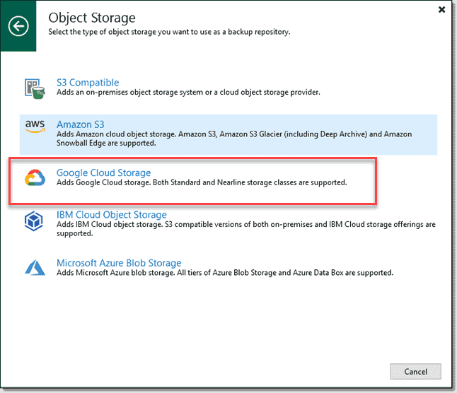 Veeam Backup and Replication v11 with Google Cloud Storage