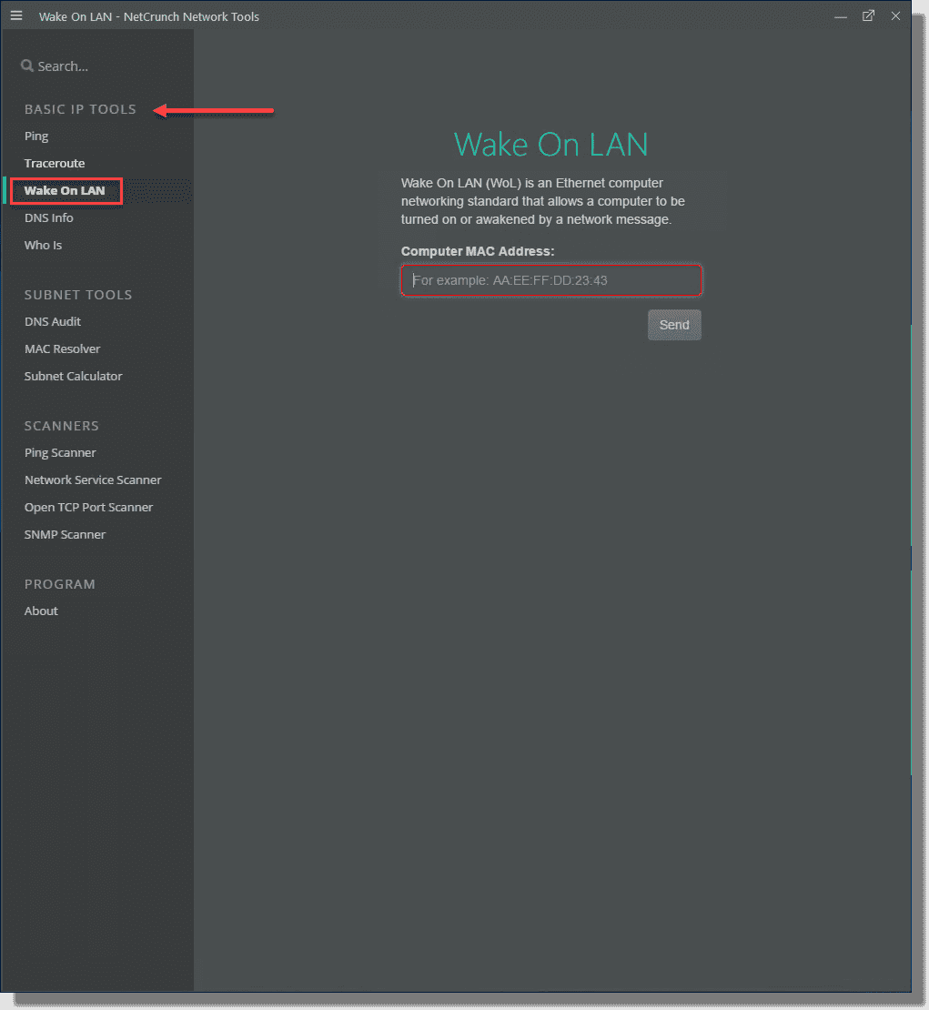 Viewing the WAKE ON LAN feature in NetCrunch network tools