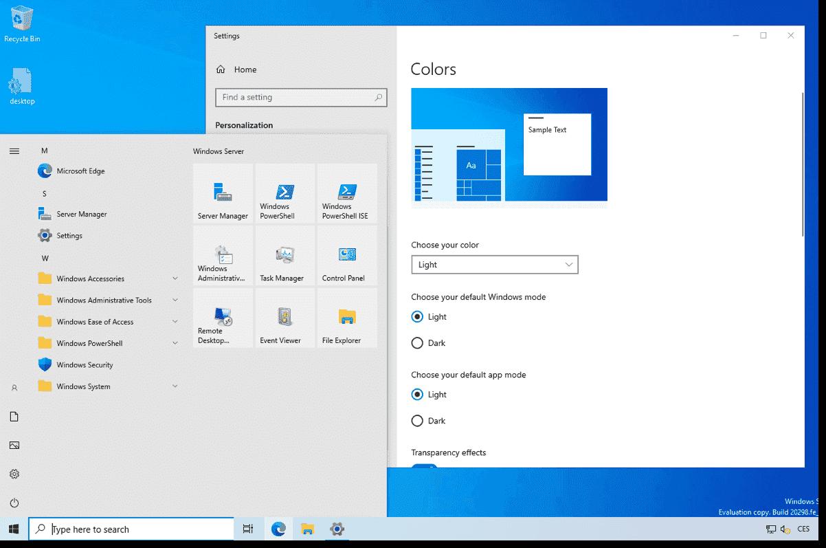 Windows Server 2022 Light mode