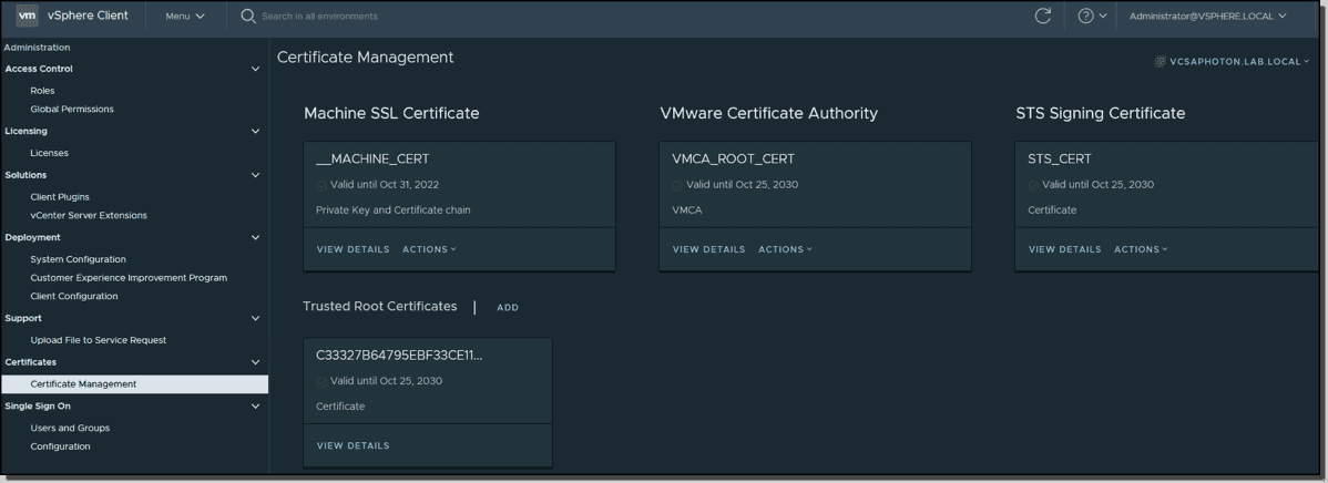 Certificate management within vSphere 7