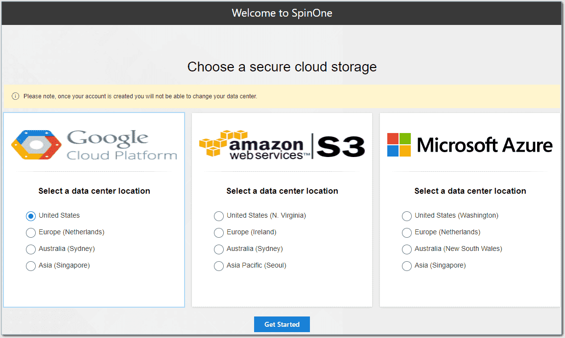 Choose the cloud location for storing your backups