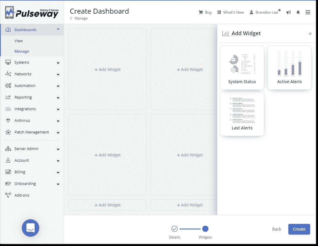 Choosing widgets for a new dashboard
