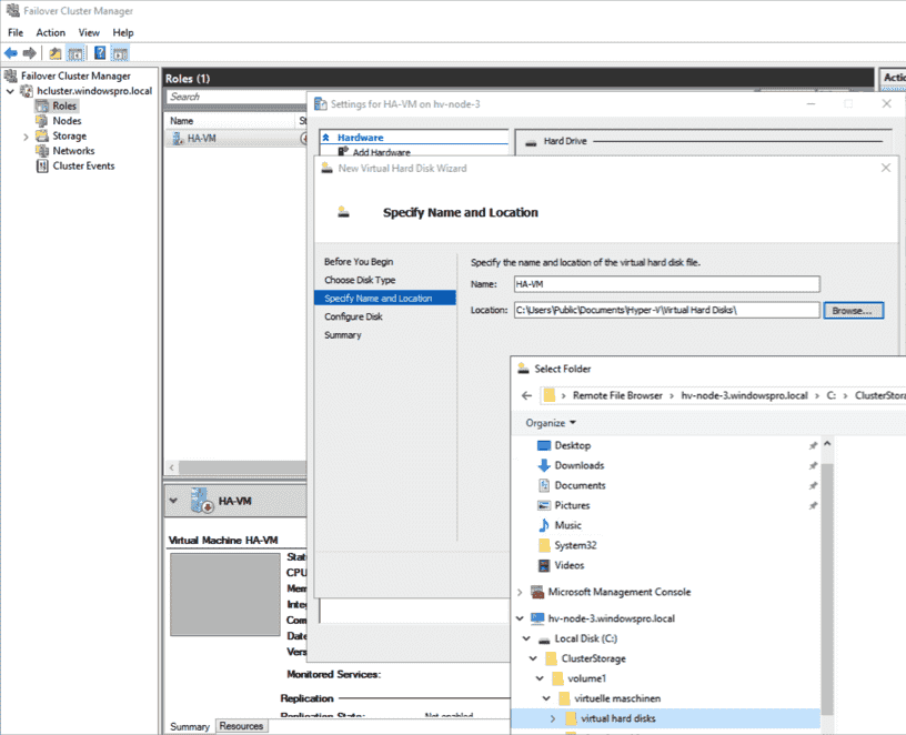 Create a new virtual drive for the VM in the FCM