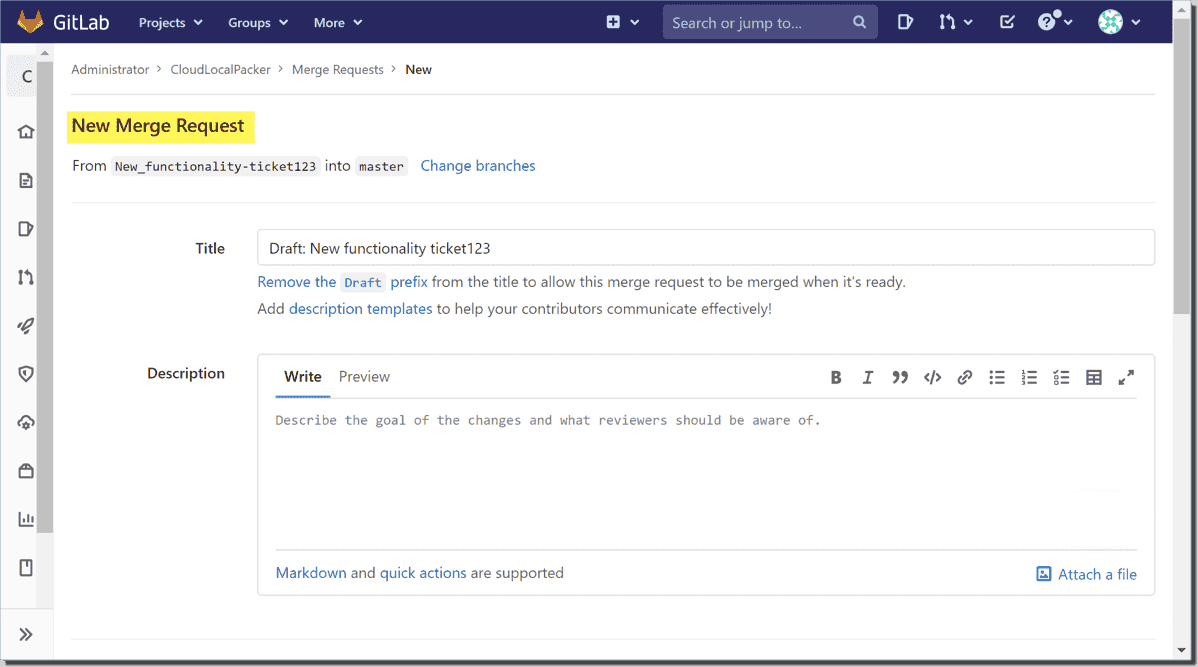 Creating a new merge request for code changes