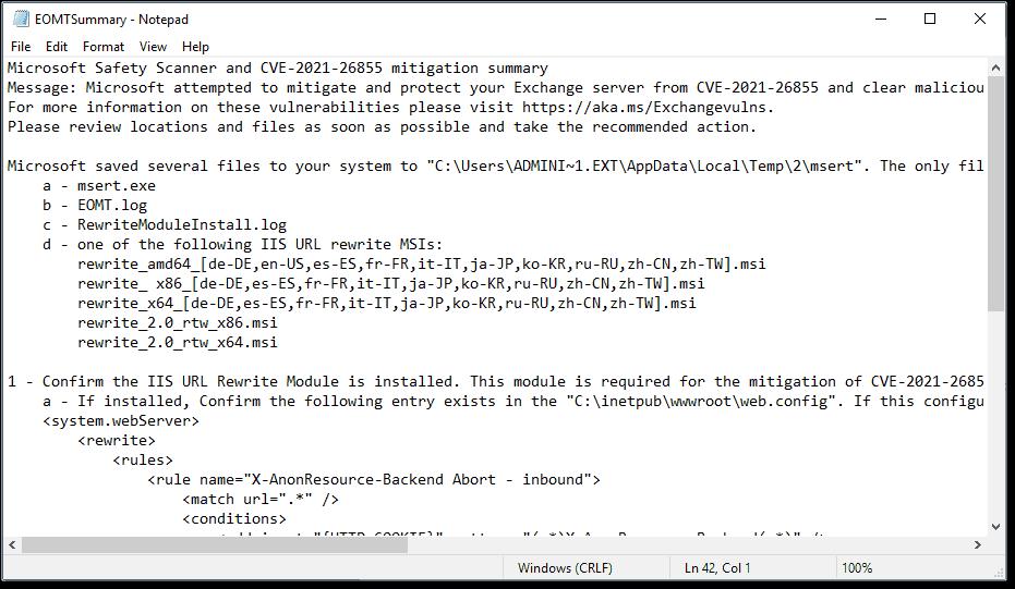 EOMT summary log