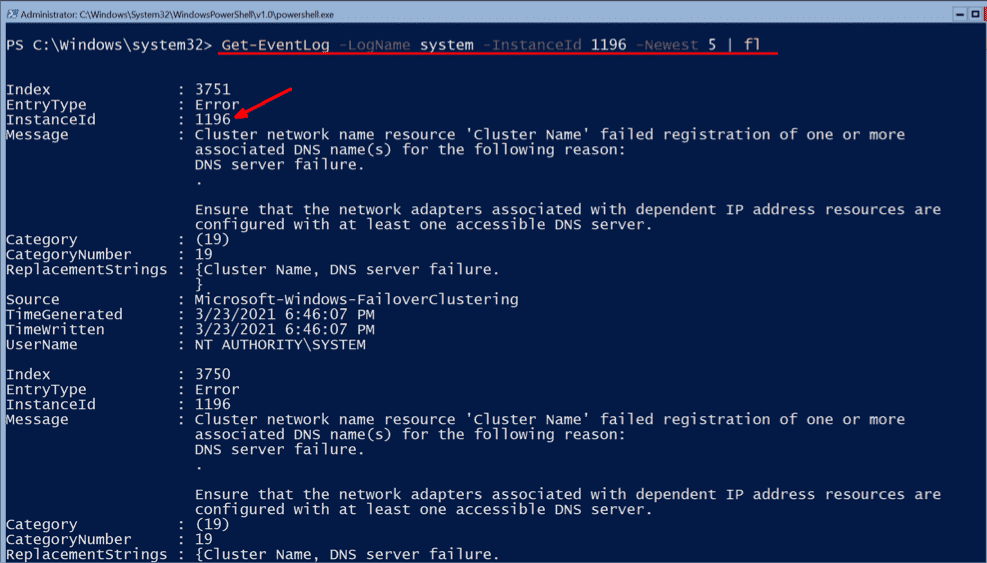 Event 1196 shown here in PowerShell refers to the failed creation of the DNS record