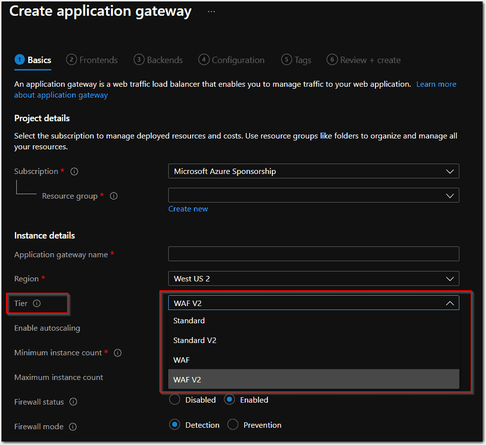 Four SKUs available for Application Gateways