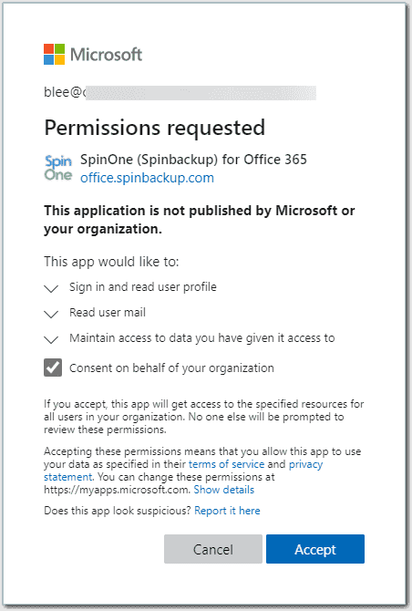 Granting permissions requested by the SpinOne application in Microsoft 365