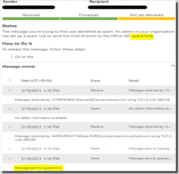 Message trace status Quarantined