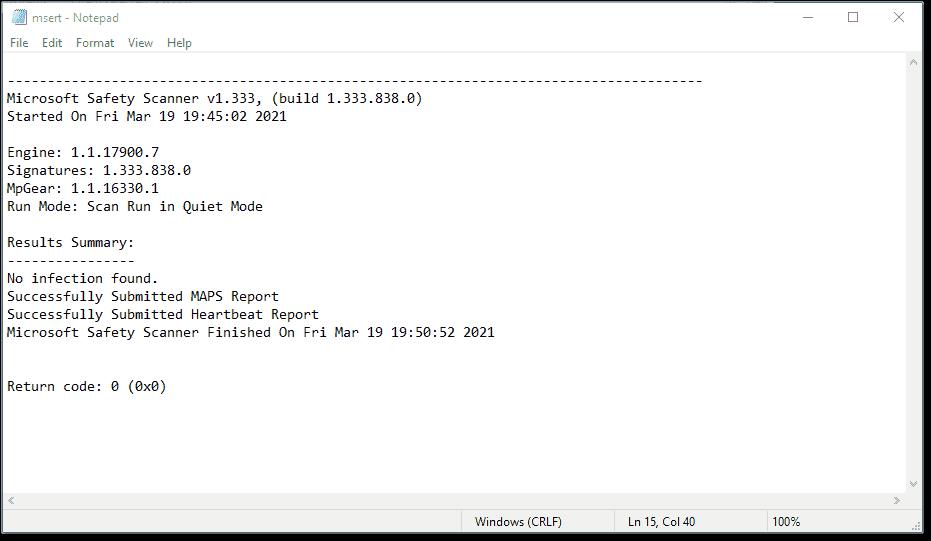 Microsoft Safety Scanner log file