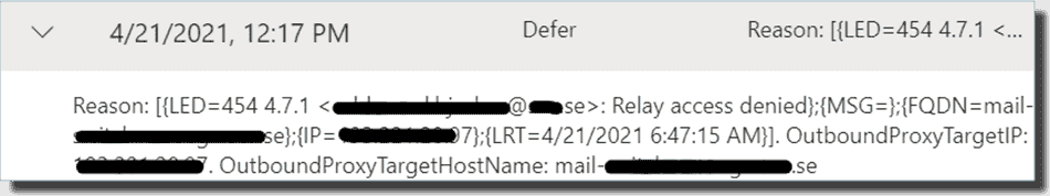Pending because relay access was denied