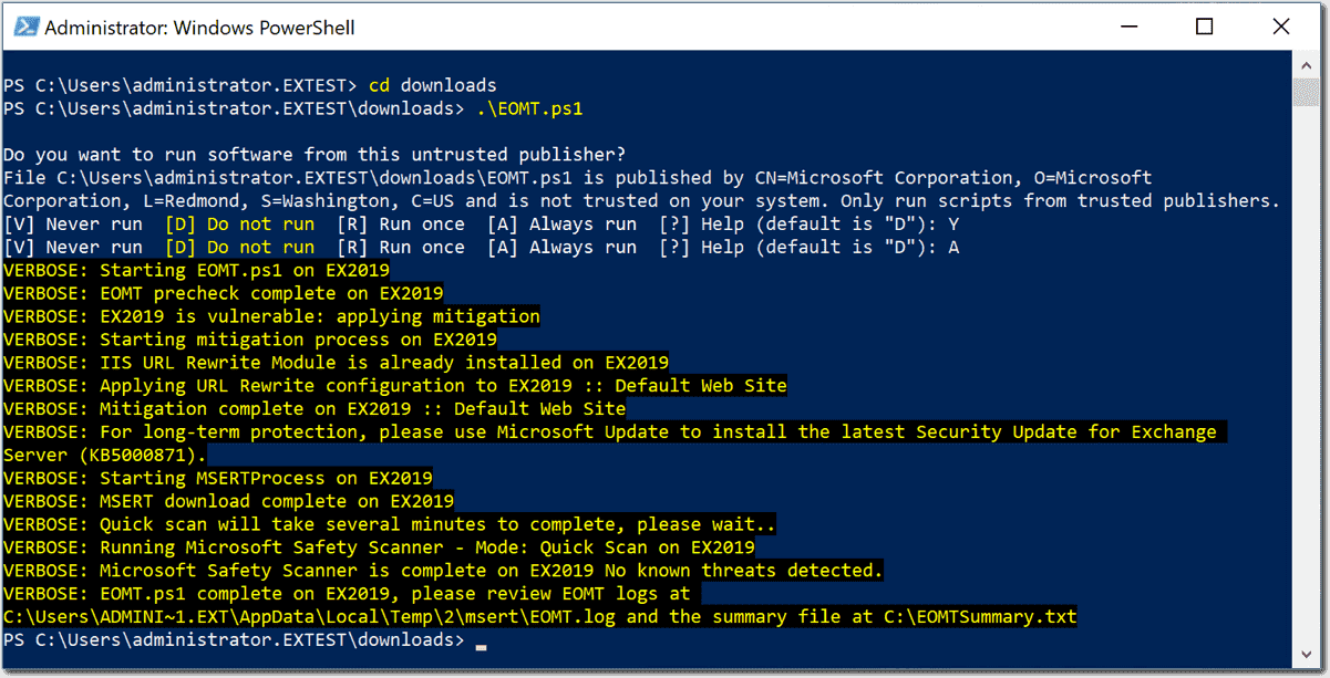 Running the EOMT one click PowerShell Exchange Mitigation script