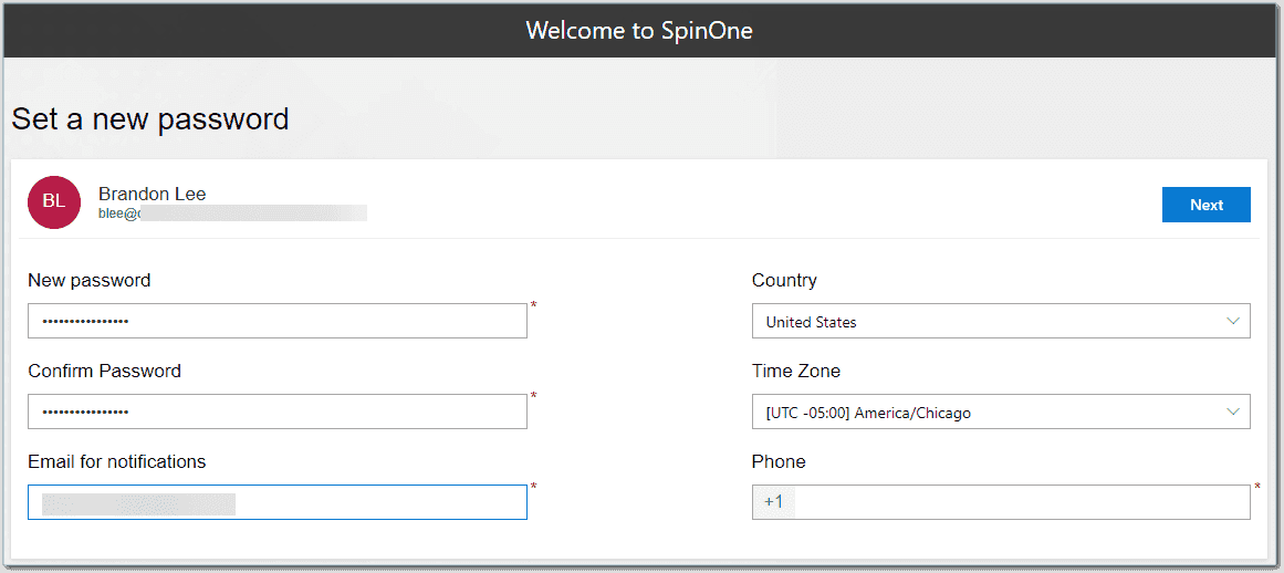 Setting up the administrator account for SpinOne