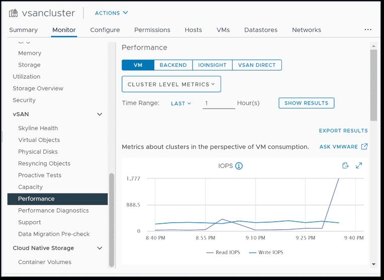 Viewing VMware vSAN 7.0 Update 2 performance metrics