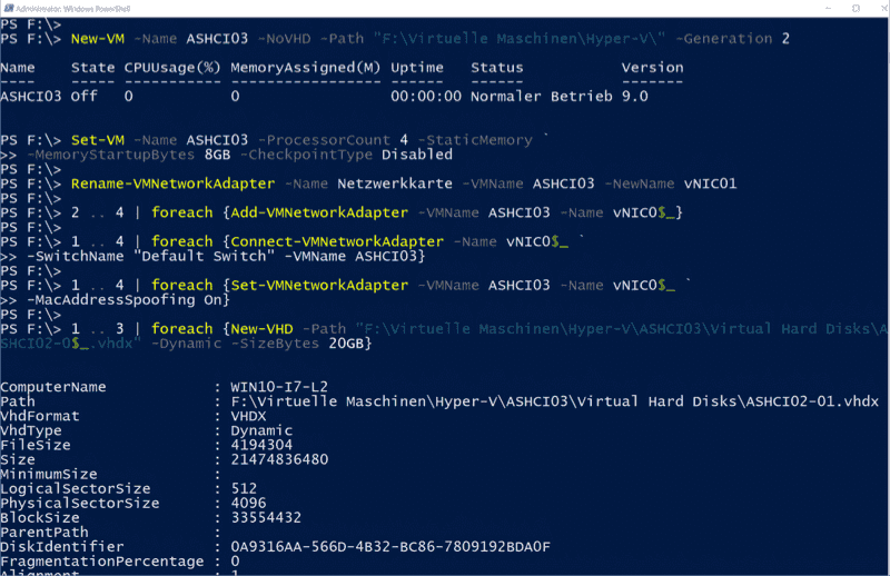 All steps start from creating and customizing the VM to adding the NICs and creating the VHDs