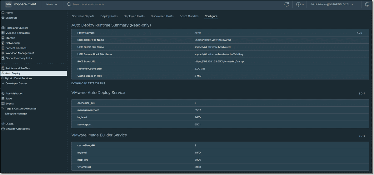 Auto Deploy and Image Builder configuration screen