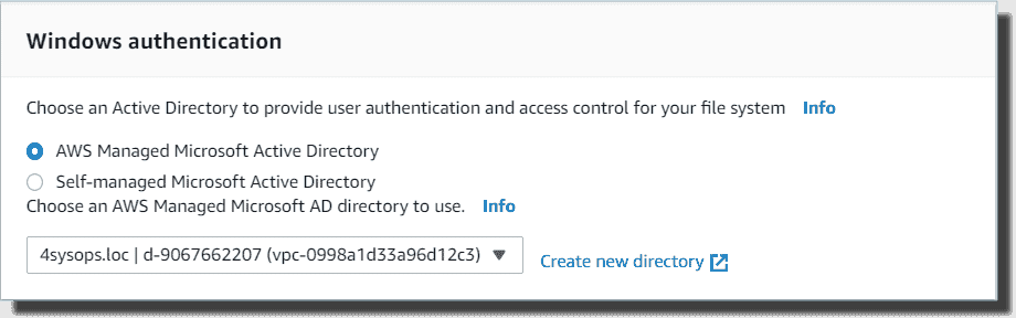 Configuring file system Windows authentication