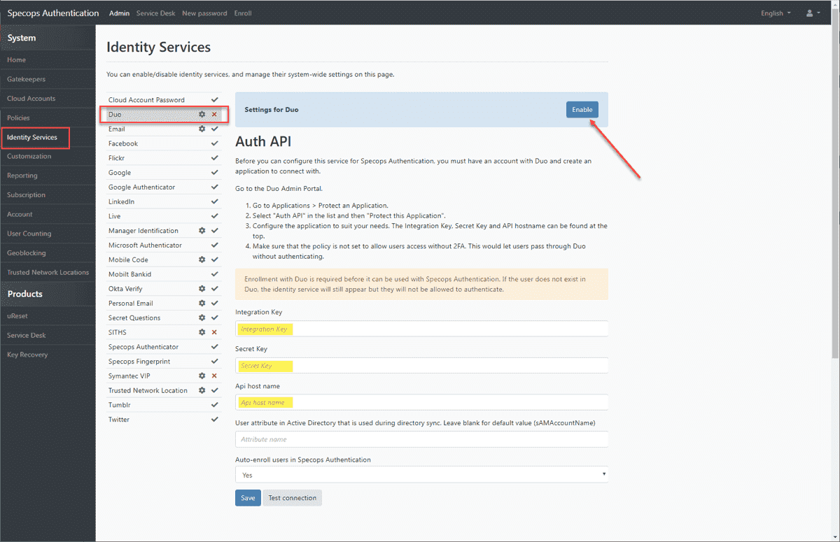 Configuring the Duo Identity Service in Secure Service Desk