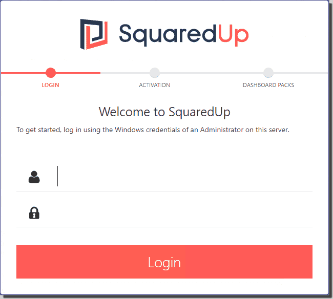 Enter administrator credentials for an admin user on the SquaredUp server