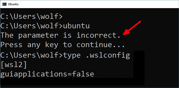 If WSL fails with an incorrect parameter message you can reactivate the subsystem via the configuration file