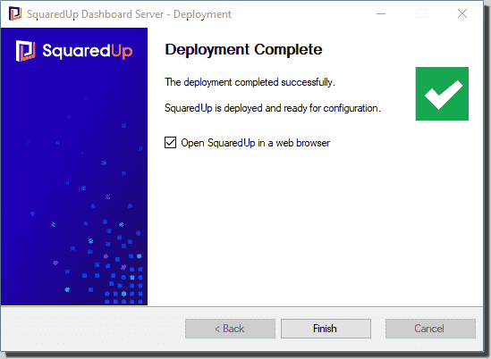 Installing SquaredUp Dashboard Server using the install wizard