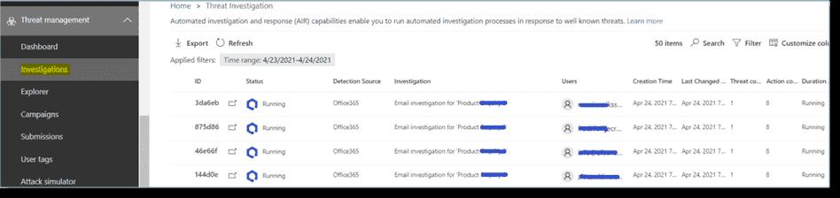 Investigation progress