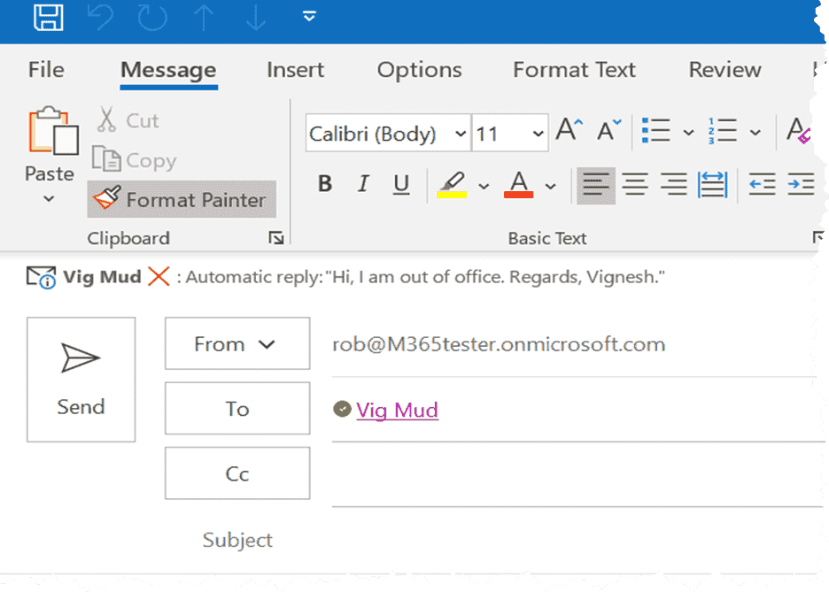 Mail tip in Outlook