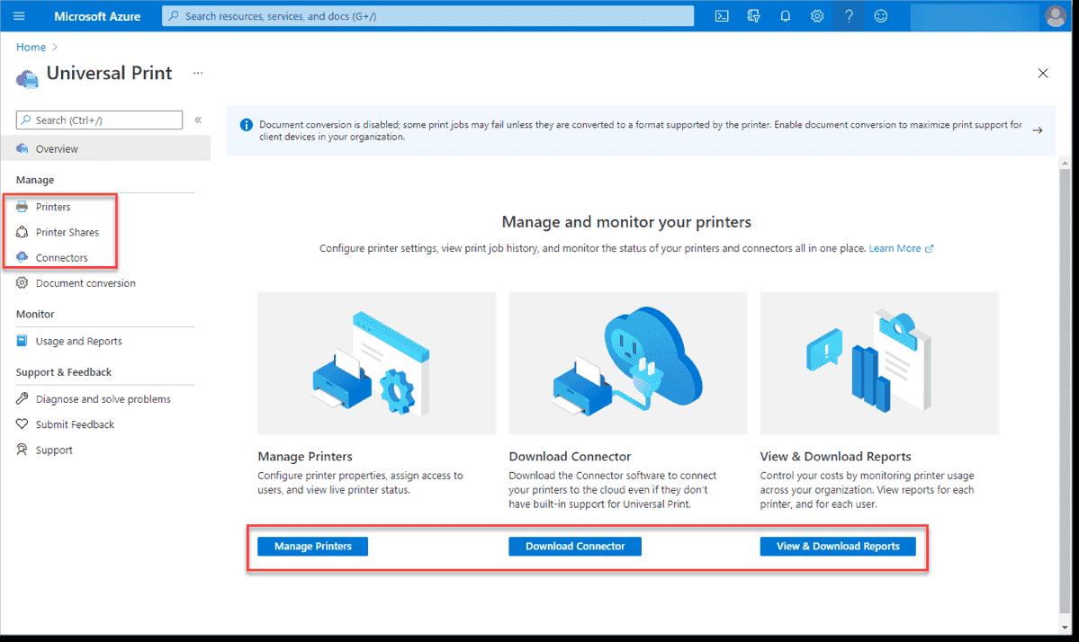 Managing Universal Print in Microsoft Azur